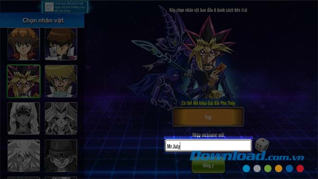 Nhập tên nhân vật chơi Yugi H5