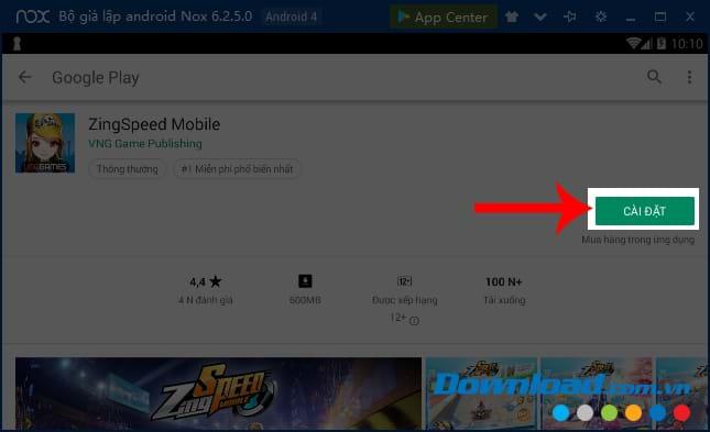 Chấp nhận cài đặt game Zing Speed Mobile trên giả lập