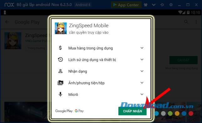 Chọn Tiếp tục để cài đặt game đua xe Zing Speed Mobile