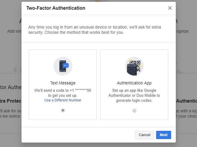 Chọn phương thức bạn muốn sử dụng để xác thực 2 yếu tố của Facebook