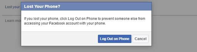 Đăng xuất khỏi Facebook khi mất điện thoại