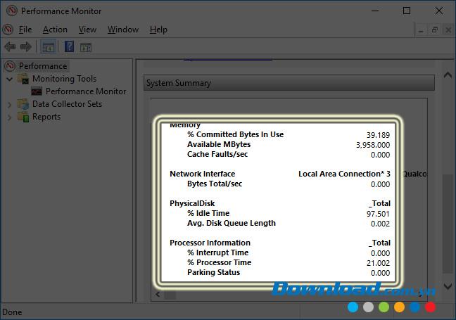 Giao diện chính của Performance Monitor