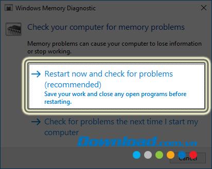Chọn khởi động lại máy tính
