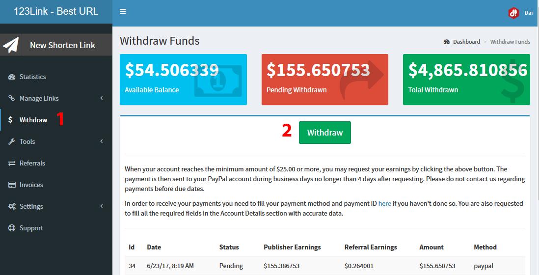 Hướng dẫn nhận thanh toán ở 123Link