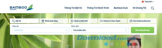 Giao diện đặt vé của Bamboo Airway