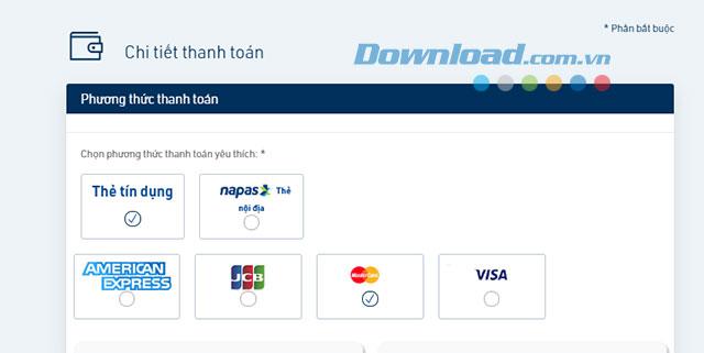 Lựa chọn hình thức thanh toán vé máy bay