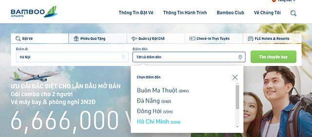 Lựa chọn đường bay trên Bamboo Airway