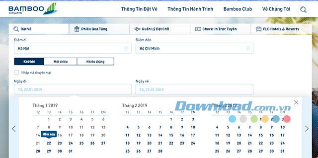 Lựa chọn ngày bay với Bamboo Airway
