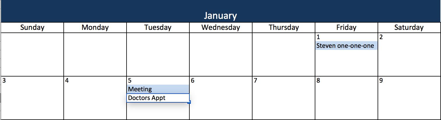 Thêm sự kiện vào mẫu lịch