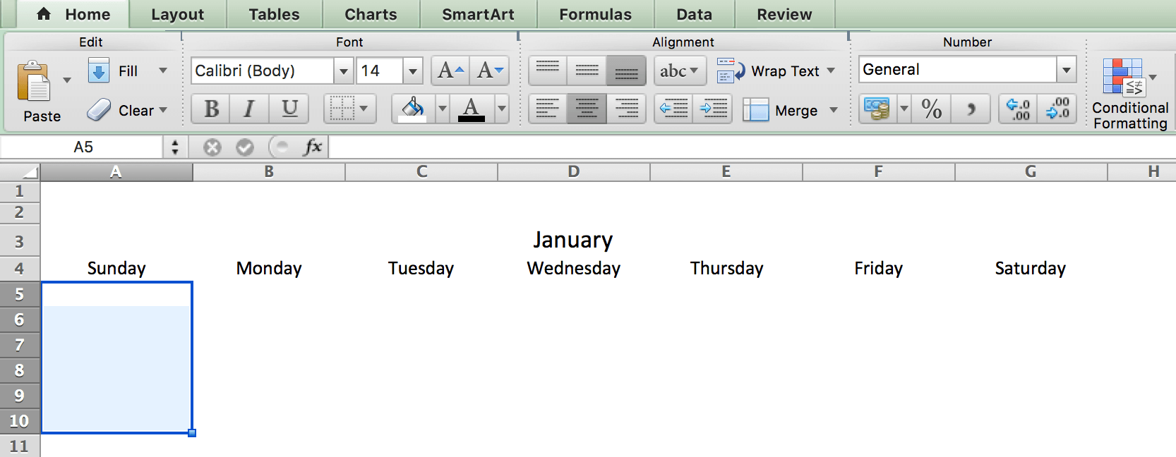 Đánh dấu ô ngày trong lịch tạo bằng Microsoft Excel