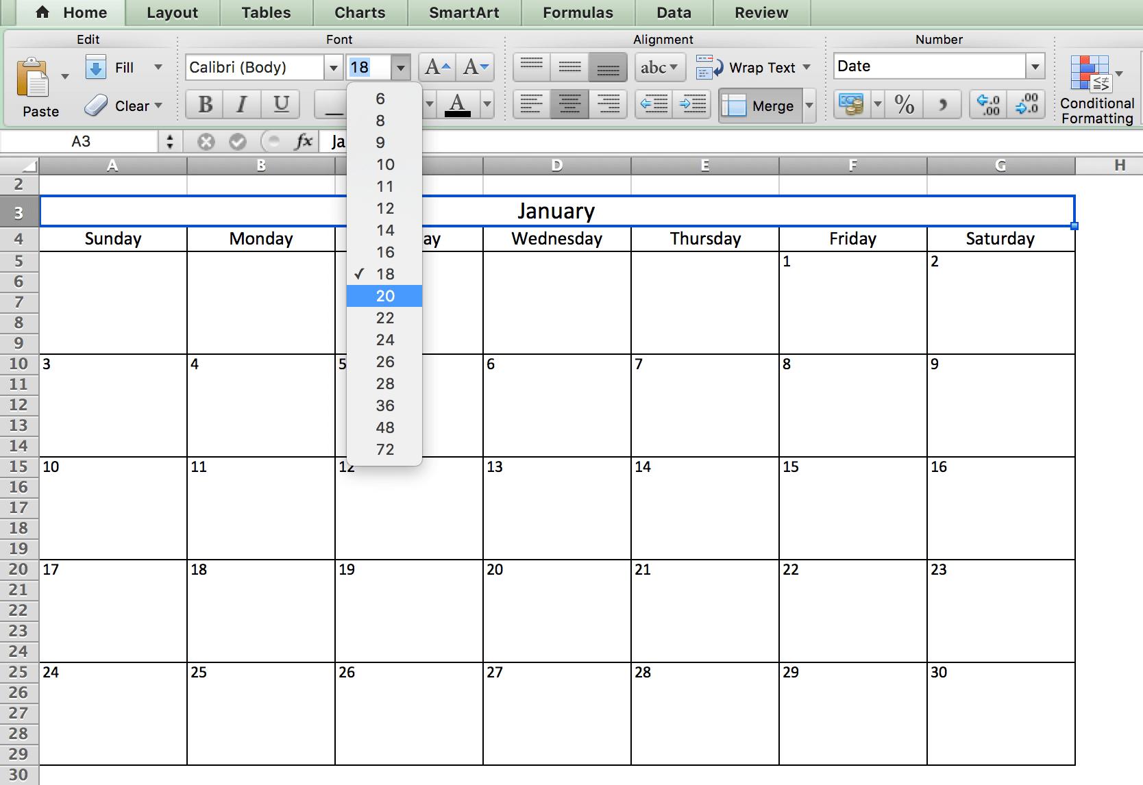 Định dạng font lịch