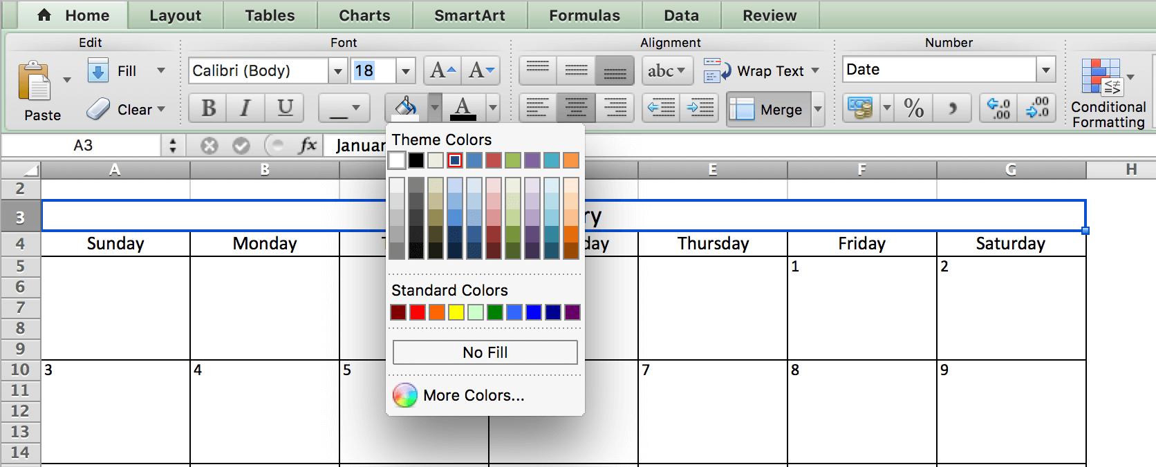 Thay đổi màu sắc lịch trong Excel