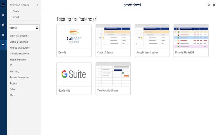 Chọn mẫu lịch tạo bằng Smartsheet