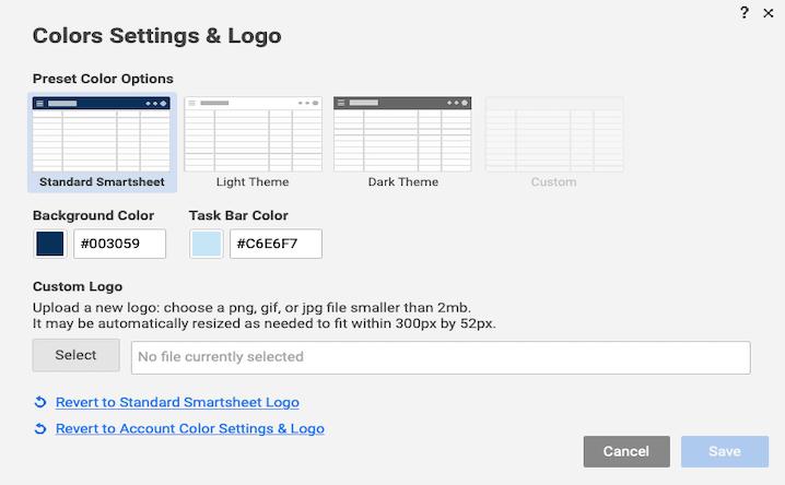 Thay đổi màu lịch bằng smartsheet