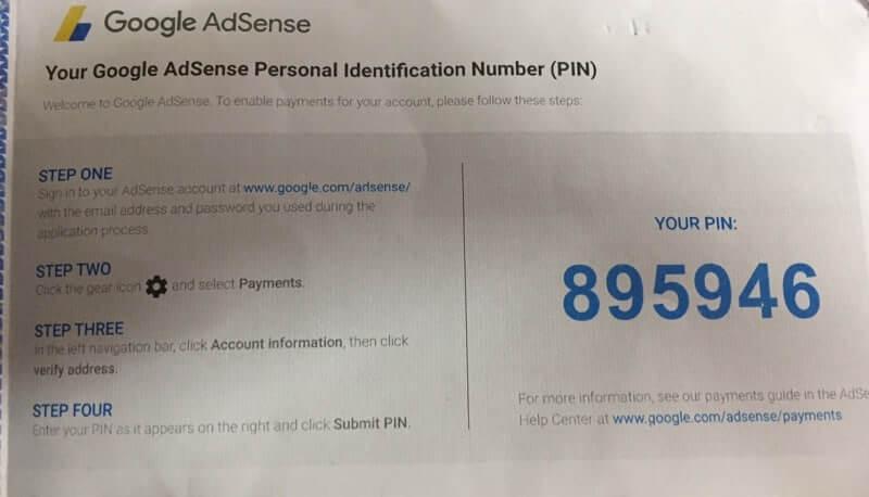 Xác thực Google Adsense Pin và nhận thanh toán