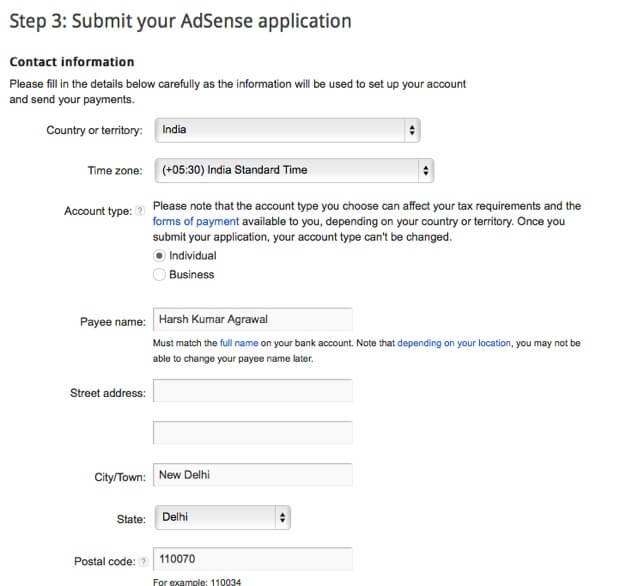 Nhập thông tin tài khoản AdSense