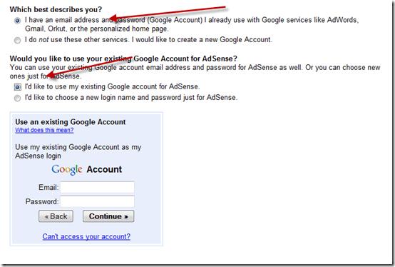 Đăng ký AdSense bằng tài khoản email