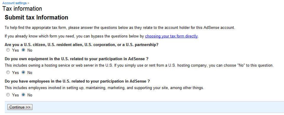 Gửi thông tin thuế hợp pháp tới Google AdSense
