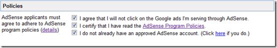 Chấp thuận chính sách AdSense