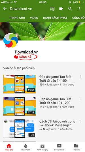 Đăng ký kênh Youtube