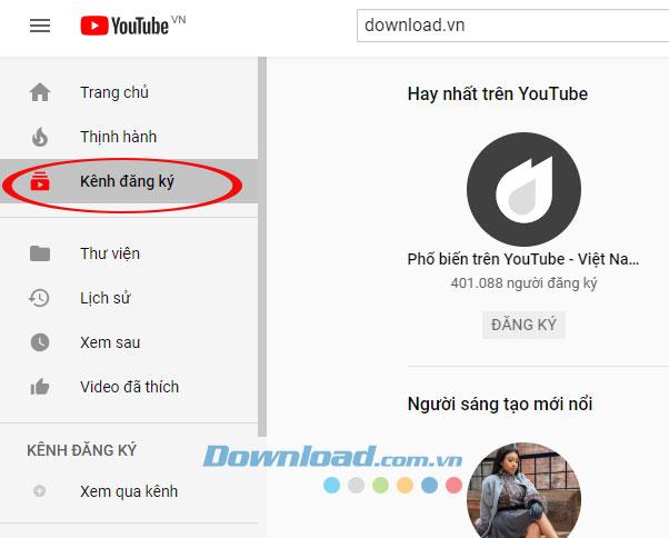 Quản lý kênh Youtube và kênh đề xuất