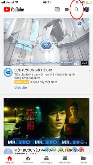Giao diện chính của Youtube trên iPhone