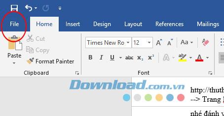Giao diện chính của ứng dụng Microsoft Word