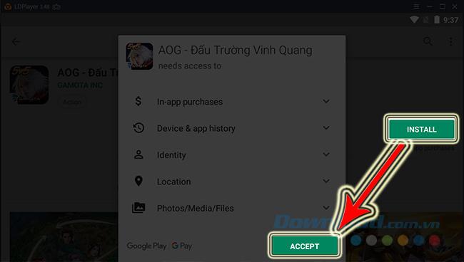 Nhấn vào Install để cài đặt game Đấu Trường Vinh Quang