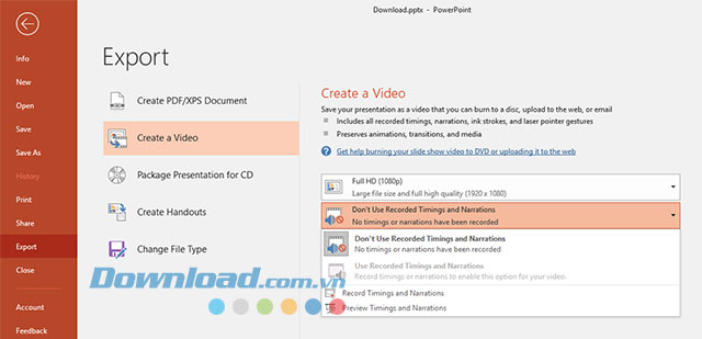 Hướng dẫn xuất file Powerpoint thành video trên Microsoft Office