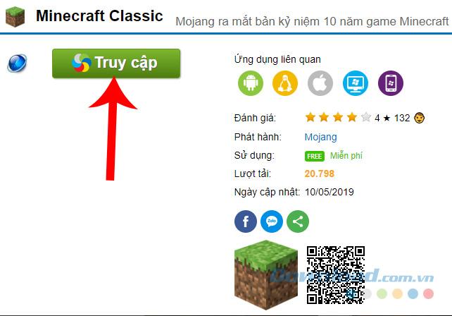 Truy cập vào trang chơi Minecraft Classic miễn phí