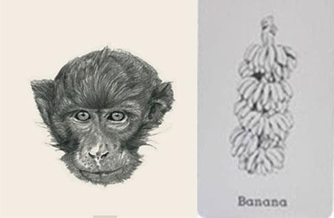 Ảnh ghép khỉ và chuối 4D