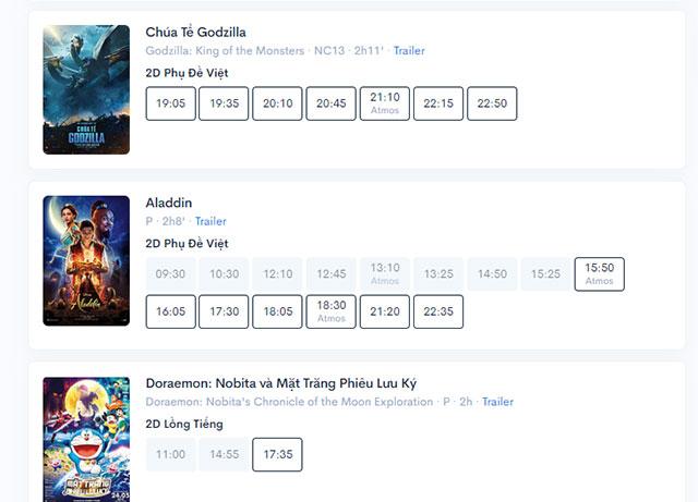 Chi tiết lịch chiếu phim của rạp đã chọn