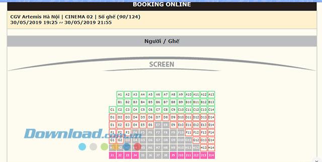 Chọn chỗ ngồi trong rạp CGV