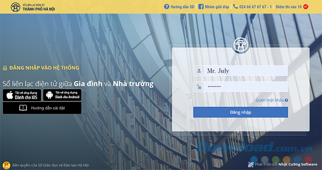 Giao diện chính của website sổ liên lạc điện tử PINO