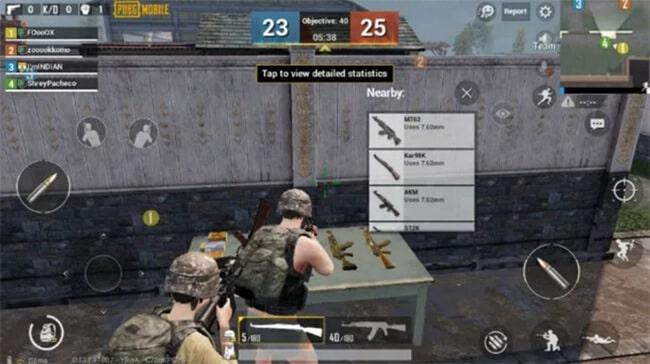Các loại vũ khí trong chế độ chơi