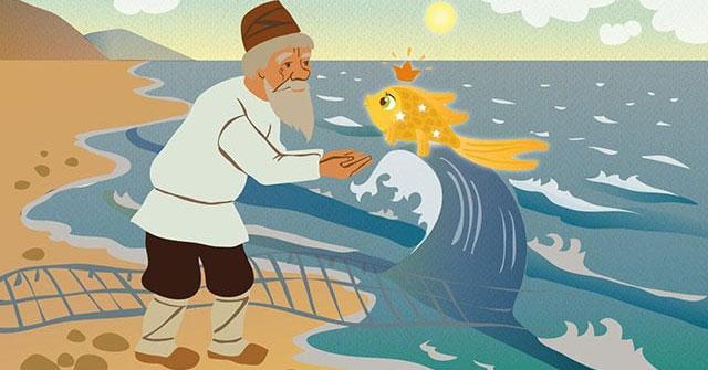 Đóng vai ông lão kể lại truyện Ông lão đánh cá và con cá vàng