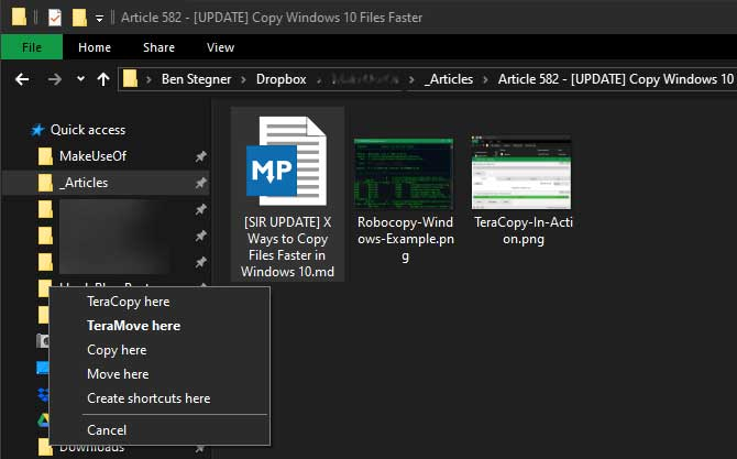 Sử dụng phím tắt chuột để sao chép file