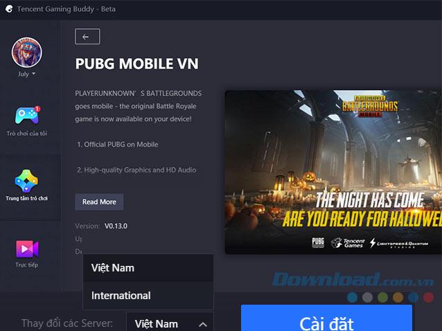 Chọn server Việt Nam để cài đặt