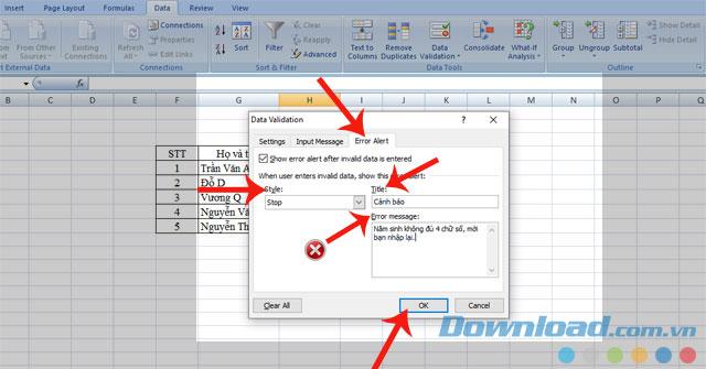 Thiết lập các mục trong Error Alert và nhấn OK