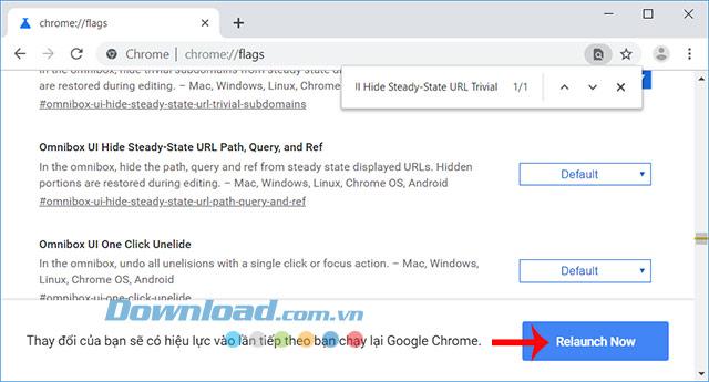 Khởi động lại trình duyệt Chrome