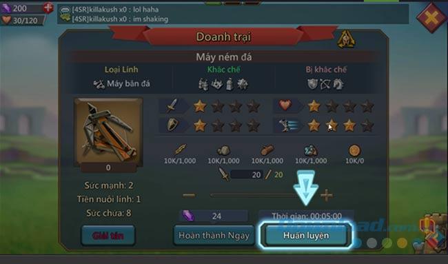 Tấn công đối phương trong Lords Mobile