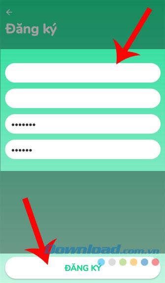 Điền thông tin và ấn nút Đăng ký