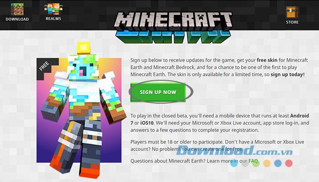 Đăng ký sớm game Minecraft Earth