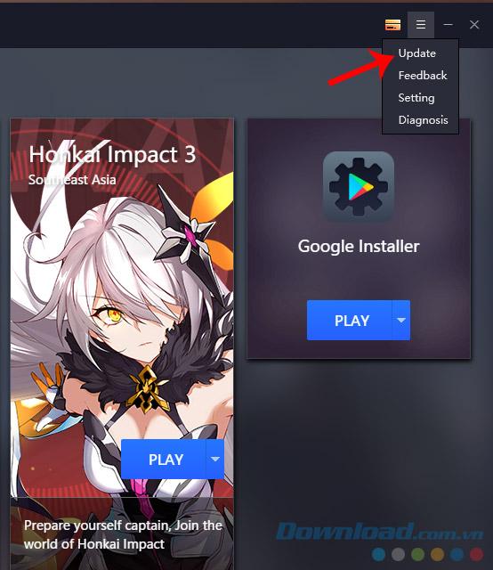 Giao diện chính của Gameloop
