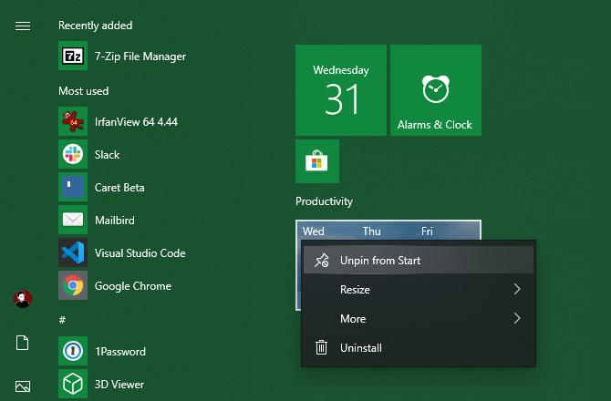 Gỡ bỏ các mục không cần thiết khỏi menu Start