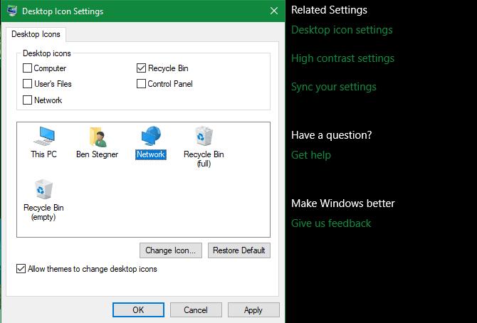 Cài đặt icon trên màn hình máy tính