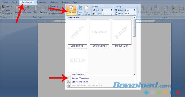 Nhấn vào mục Custom Watermark