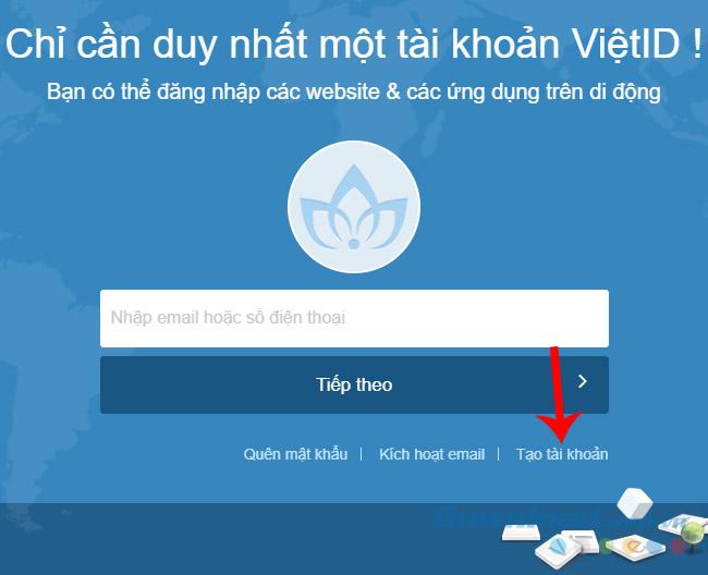 Giao diện trang chủ của VietID