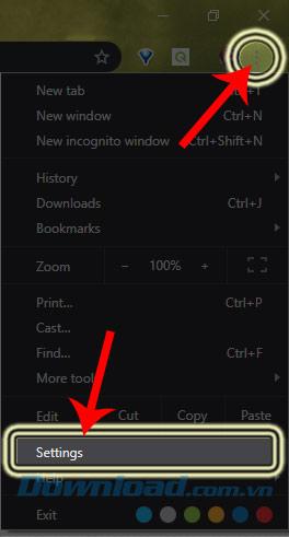 Giao diện chính của trình duyệt Chrome