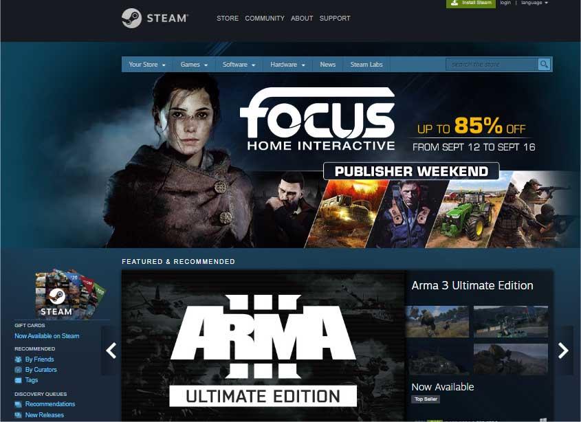 Giao diện của ứng dụng cập nhật game online Steam